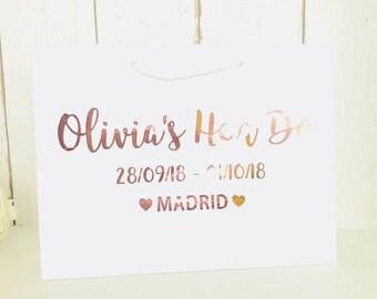 Personalised Gift Bag • Rose Gold Gift Bag • Bridesmaid Gift • Hen Party Gift • Personalised Bag • Bridesmaid Bag • Hen Do Gifts