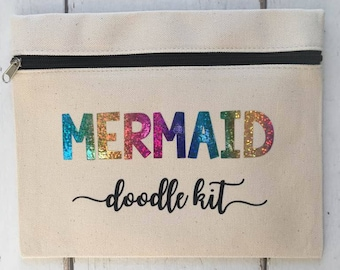 Mermaid Pencil Case | Doodle Kit | Pencil Case | Mermaids | Bag | Storage | Gift | For Her |  Stocking Filler | Make Up Bag | Cosmetic Bag