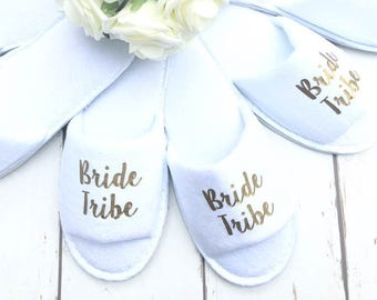 Bride Tribe • Bridal slippers • Hen Party Slippers • Bridal Party • Wedding Slippers • Personalised Spa Slippers • Spa Slippers • Gift