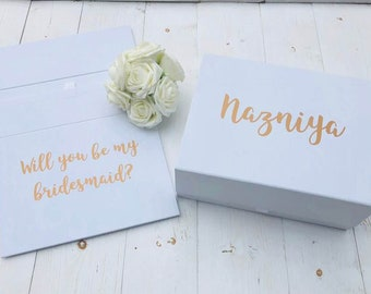Will You Be My Bridesmaid Proposal Box • White Gift Box •Personalised Bridesmaid Gift Box • Bridal Party Gift