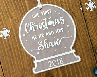 Our First Christmas as Mr and Mrs • Personalised Snow Globe Tree Decoration Ornament