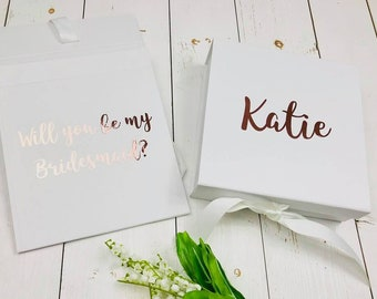 Personalised Bridesmaid Gift Box Will You Be My Bridesmaid Proposal Hidden Message Inside Rose Gold Bridesmaid Gift Box Maid Of Honour Gift