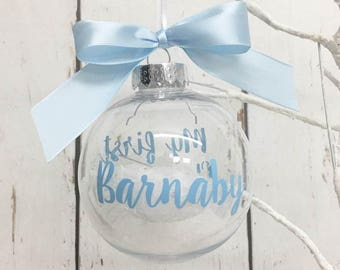 My first Christmas • Bauble • 1st Xmas • Clear • Snowflakes • Tree • Ornament • Decoration • Personalised • New Baby • Gift • Date • Name