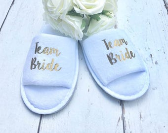 Team Bride •  Bridal slippers •  Hen Party Slippers •  Bridal Party •  Wedding Slippers •  Personalised Spa Slippers •  Spa Slippers •  Gift