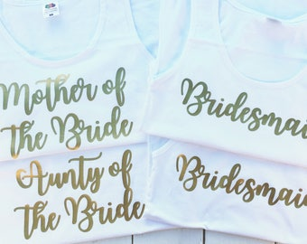 Bridesmaid Tops • Hen Party Tops • Hen Party Vests • Hen Party Shirts • Hen Do Tops • Bridesmaid Vests • Bridal Party Tops • Bride Vests