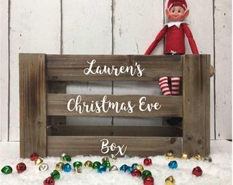 Christmas Eve • Wooden • Crate • Box • Personalised • Pyjamas • Kids • Xmas Eve • Santa • Hamper • Gifts • Elf • Rustic • Vintage