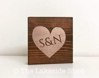 Heart • Initials • New Baby • Newborn • Shelf Sitter • Pallet Sign • Freestanding • Chunky • Wooden • Sign • Rustic • Nursery Decor •Wedding