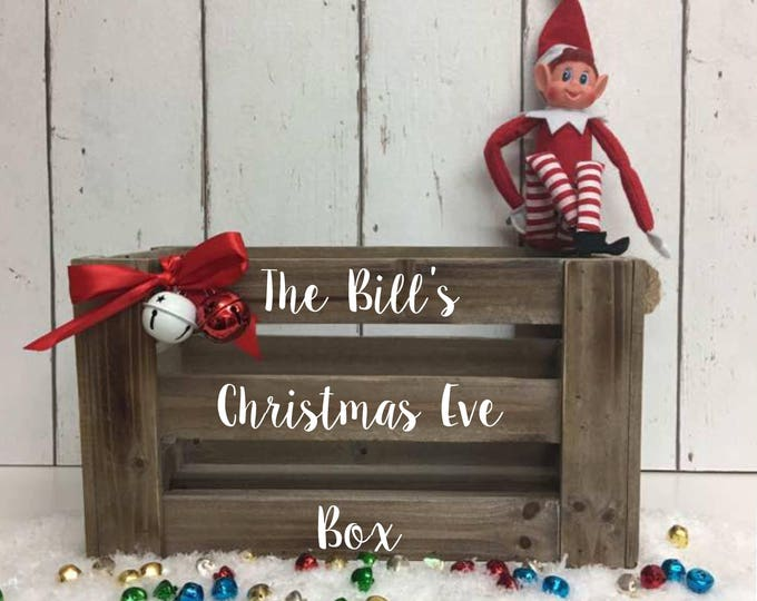 Featured listing image: Family Christmas Eve Crate •  Family Christmas Eve Box •  Personalised Christmas Eve Box •  MDF Crate •  Xmas Eve Box •  Rustic Christmas