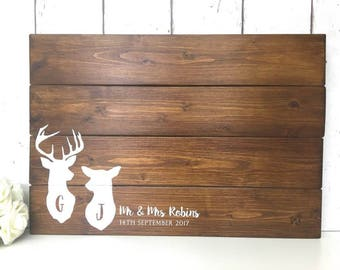 Woodland Guest Book •  Woodland Guestbook •  Rustic Guest Book •  Wedding Guest Book •  Stag Sign •  Wooden Guestbook •  Wooden Guest Board