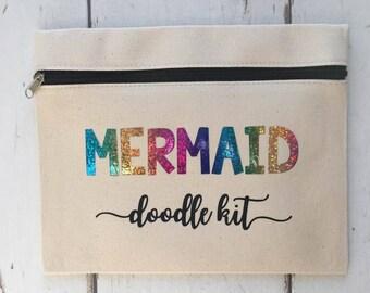 Mermaid doodle Kit Pencil Case   Make up Bag
