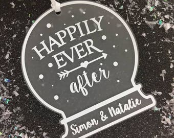 Happily Ever After Personalised Snow globe Tree Decoration For Couples and Newlyweds
