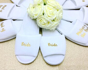Bridal slippers • Bridal Party Slippers • Hen Party Slippers • Wedding Slippers • Personalised Spa Slippers • Spa Slippers • Bridesmaid Gift