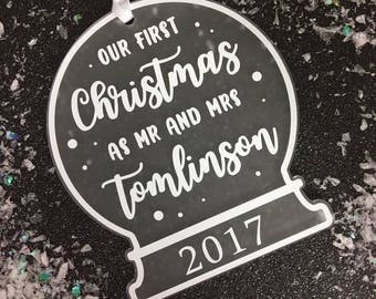 Our First Christmas as Mr and Mrs • Personalised Tree Decoration • Snow Globe Decoration • Our First Christmas •Our First Christmas Ornament
