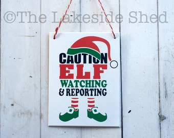 Elf Surveillance Christmas Plaque / Sign xmas Dog Cat Bone Snowflake