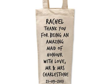 Maid of Honour Gift | Personalised Maid of Honour Bottle Bag | Thank you Maid of Honour | Bridal Party Gifts
