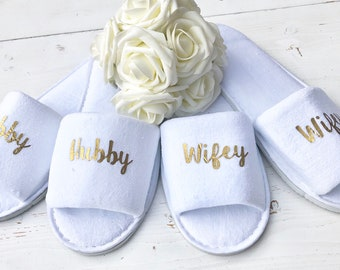 Hubby and Wifey | Bridal slippers | Honeymoon Gift | Newlyweds | Wedding Slippers | Personalised Spa Slippers | Spa Slippers | Gift