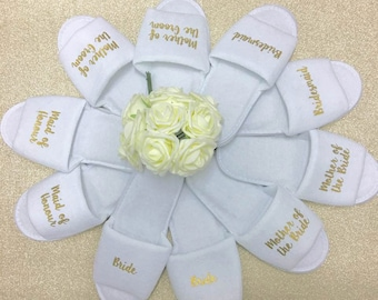 Hen Party Slippers • Bridal slippers • Bridal Party Slippers • Personalised Spa Slippers • Wedding Slippers • Spa Slippers • Bridesmaid Gift
