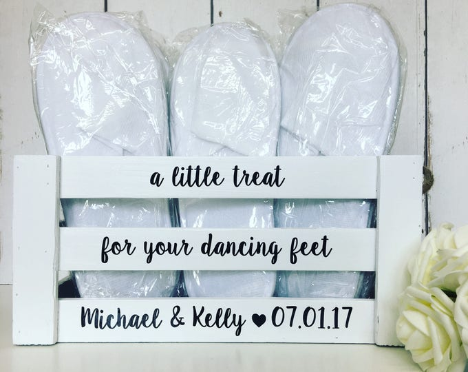 Featured listing image: A Little Treat For Your Dancing Feet | Wedding flip flops | Flip Flop Crate | Slippers Crate | Personalised Crate| Wedding Box |Wooden Crate