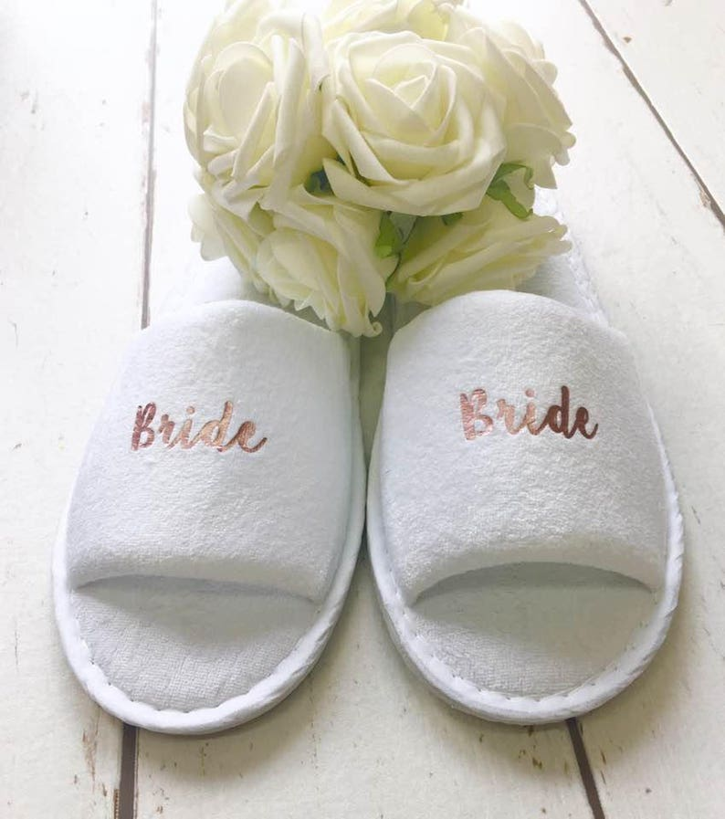 77c78a3d4b7d Rose Gold Bridal slippers Bridal Party Slippers Hen