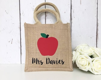 Teacher | Lunch | Gift | Personalised | Bag | Jute | Thank you | Appreciation | End of year | For her | Books | Pens | Storage | Assistant