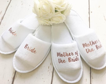 Rose Gold Bridal slippers | Bridal Party Slippers | Hen Party Slippers | Wedding Slippers | Personalised Spa Slippers | Spa Slippers