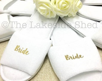 Bridal slippers | Bridal Party Slippers | Hen Party Slippers | Personalised Spa Slippers | Wedding Slippers | Spa Slippers | Bridesmaid Gift
