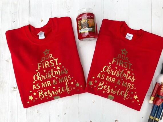 Mr /& Mr Personalised First Christmas Sweatshirt SetCouple Xmas Jumpers