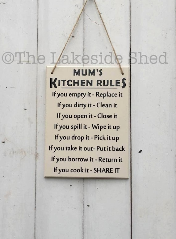 CWKR-0109 EDNA/'S KITCHEN Funny Rules Tin Sign Mother/'s day Gift For Woman