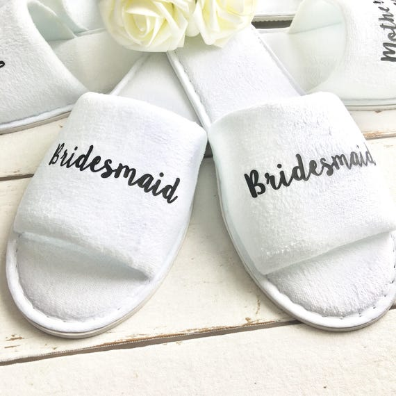 7c2b3576010c Bridal slippers • Bridal Party Slippers • Hen Party Slippers • Personalised  Spa Slippers • Wedding Slippers • Spa Slippers • Bridesmaid Gift