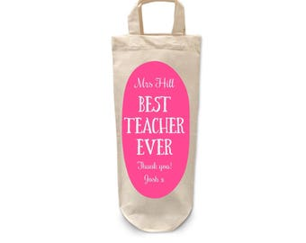 Teacher | Bottle | Bag | Thank you | Appreciation | Gift | Funny | Personalised | Best Teacher Ever | End of year | Cotton