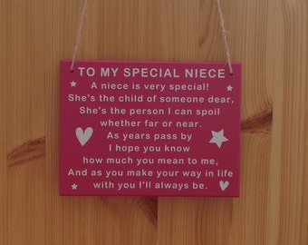 Niece | Special | Plaque | Sign | MDF | Gift | Her | Goddaughter | Christening | Baptism | Birthday | Confirmation | Aunt | Aunty |Auntie