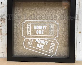Admit One | Ticket Shadow Box | Shadow Box Ticket | Ticket Stub Box | Admit One Shadow Box | Ticket Memory Box | Memory Box | Ticket Box