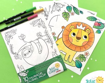 Jungle animals coloring kit for kids