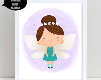 fairy illustration, fairy art, purple fairy, fairy illustration, nursery wall art, flower fairy, cute fairy, girl room decor, printable art