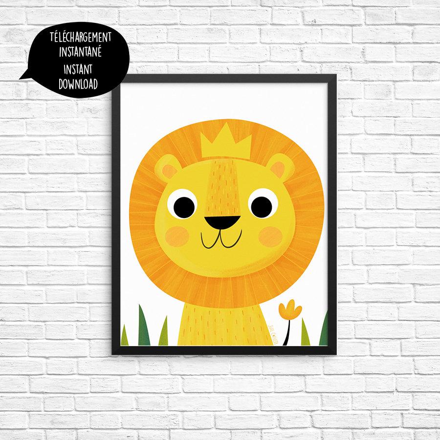 lion illustration lion king poster nursery wall art jungle | Etsy