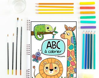 FRENCH Alphabet coloring book, wild animals coloring, downloadable abc, coloring book, safari animals, printable learning activity book