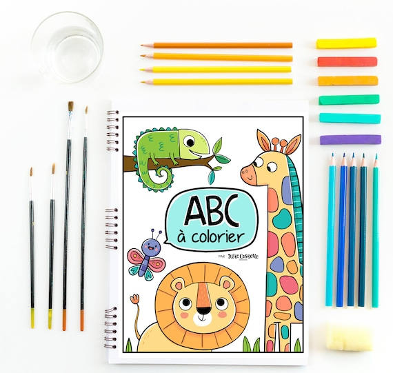 FRENCH Alphabet Coloring Book Wild Animals Coloring Etsy