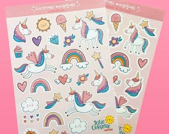 """Unicorn sticker sheet - 5"""" x 7"""" - Planner stickers"""