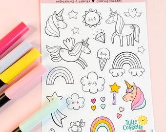 "Unicorns coloring stickers sheet 5"" x 7"""
