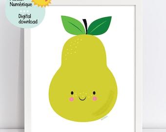 Cute PEAR illustration, fruit wall art, kids wall decor, nursery wall art, playroom decor, kindergarten decor, classroom decoration, digital