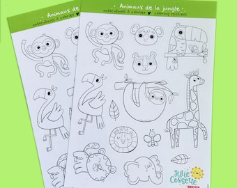 Jungle animals coloring stickers sheet