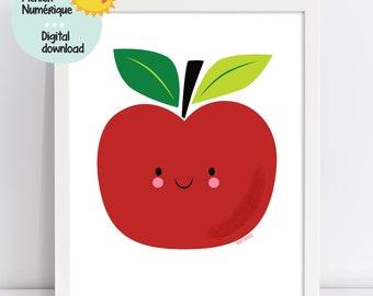 Cute Apple illustration, apple wall art, nursery wall art, children room decor, kindergarten decor, classroom, playroom, minimalist wall art