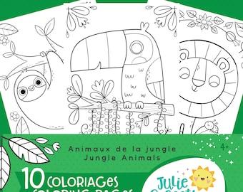 DIGITAL Jungle animals coloring kit for kids