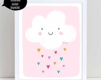 Pink cloud, cloud poster, cloud decor, cloud art, cloud wall art, printable cloud, kid room decor, nursery wall art, cloud printable art