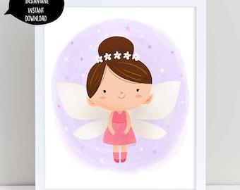 fairy illustration, fairy art, pink fairy, fairy illustration, nursery wall art, flower fairy, cute fairy, girl room decor, fairy printable
