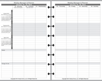 Weekly Manager Planner Organizer 2 Page Per Week 5 1/2 x 8 1/2 Levenger, Staples ARC, Franklin-Covey, DayTimer