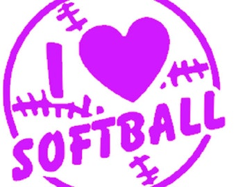 I love softball vinyl car decal, softball sticker