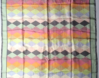 Vintage Late 1990s Gap Pastel Diamond Patterned Minimalist Luxe Oversized Silk Scarf
