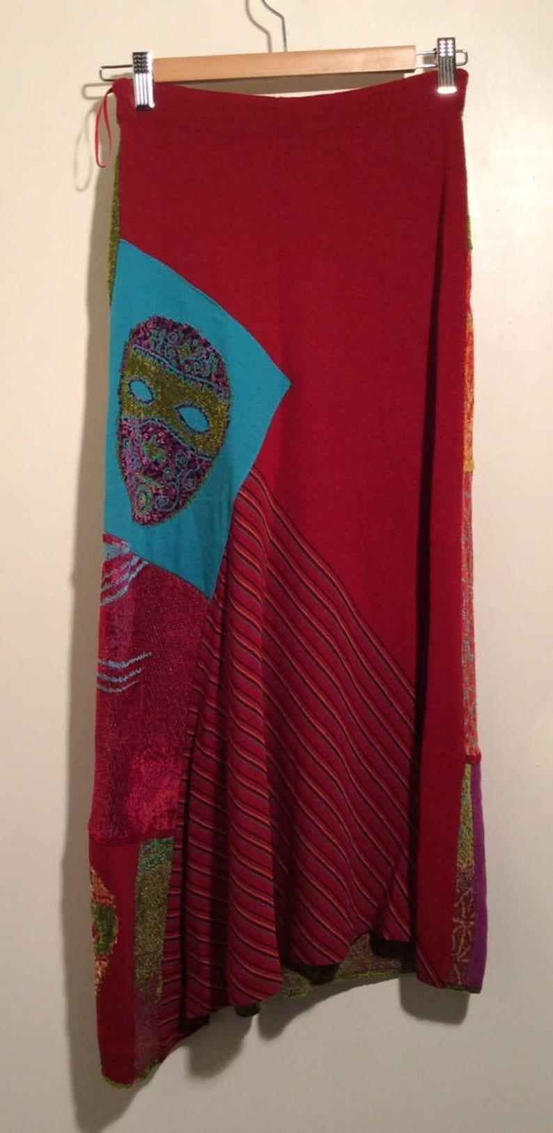 Vintage Early 1990s Chacok French Amazing Textile Multi Colored MaskFace Unique Plush Long Skirt