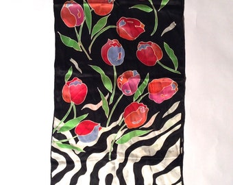 Vintage 1970s Black White Pink Long Animal/Floral Print Silk Scarf/Disco Daze